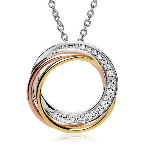 Tricolorer Anhänger 585er Gold Diamanten