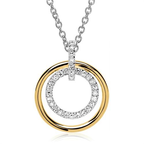 Kette Anhänger Kreise 585er Gold Diamanten