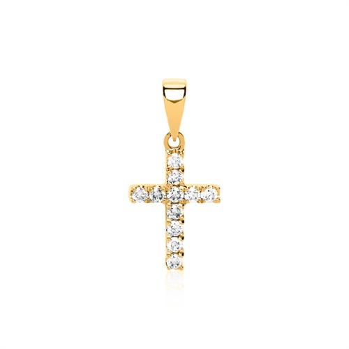 585er Gold Kette Kreuz 11 Brillanten