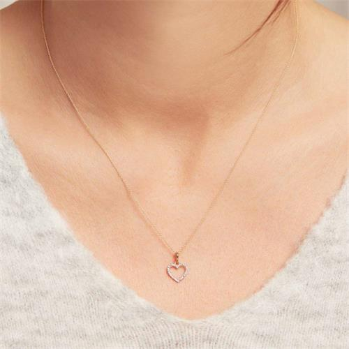 585er Goldkette Herz für Damen mit Diamanten
