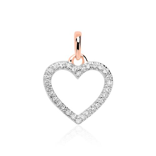 Kette Herz für Damen aus 14 K Roségold, Brillanten