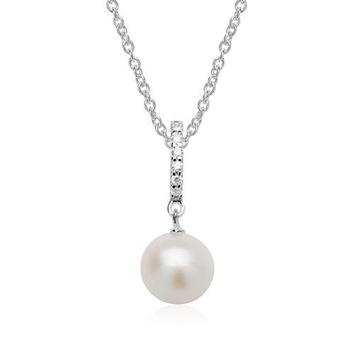 585er Weißgoldkette mit Perlenanhänger und Diamanten