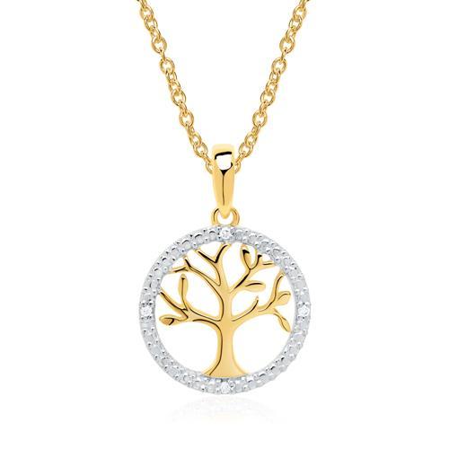 585er Goldkette Lebensbaum mit Diamanten