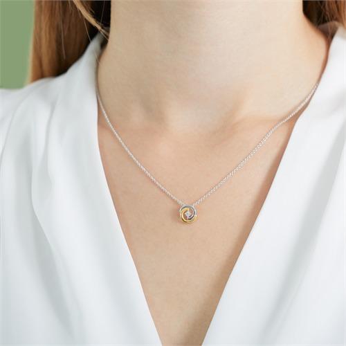 Kette Kreis aus 585er Gold bicolor mit Diamant
