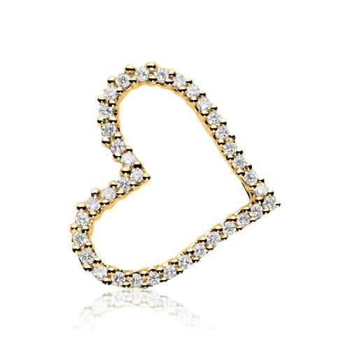 Kette und Anhänger Herz aus 585er Gold mit Diamanten