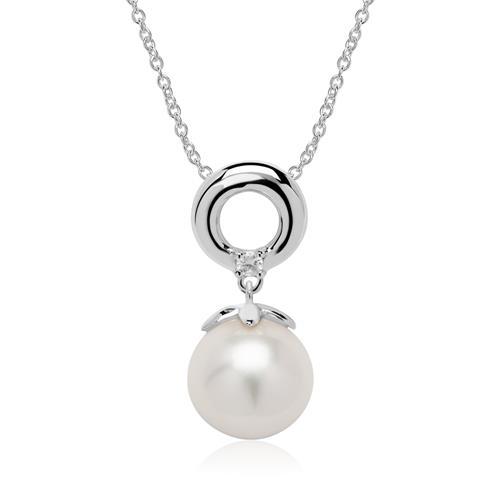585er Weißgold Kette mit Perle und Diamant