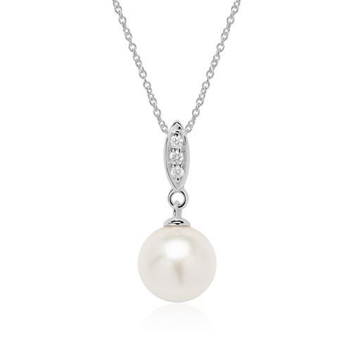 585er Weißgold Anhänger mit Perle und Diamanten