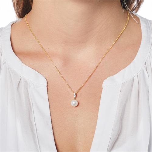14K Goldkette mit Perle und Diamanten