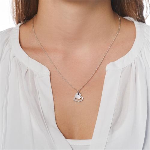 Herzanhänger aus 14K Weißgold mit Diamanten