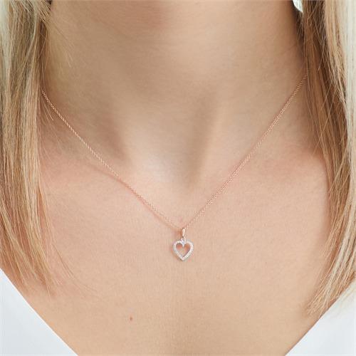 Herz Anhänger 585er Weißgold Roségold Diamanten