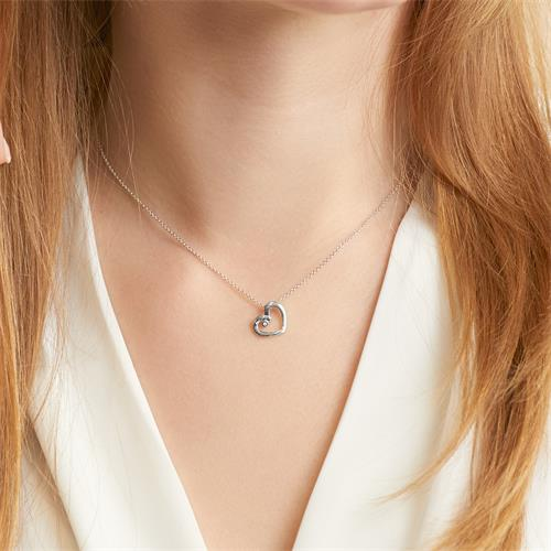 Herzkette aus 14K Weißgold mit Diamant