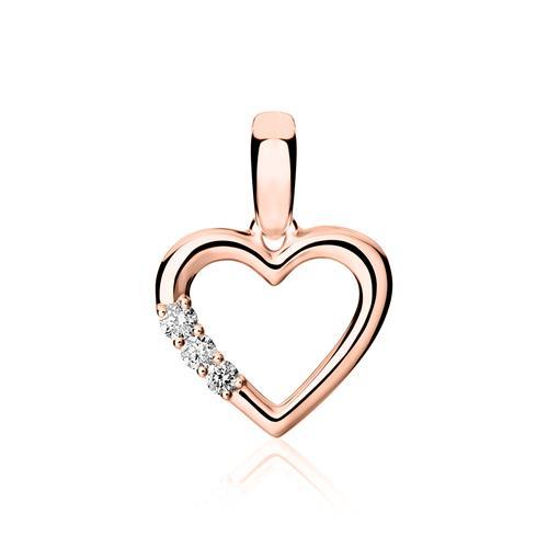 585er Roségold Kette Herz mit Diamanten