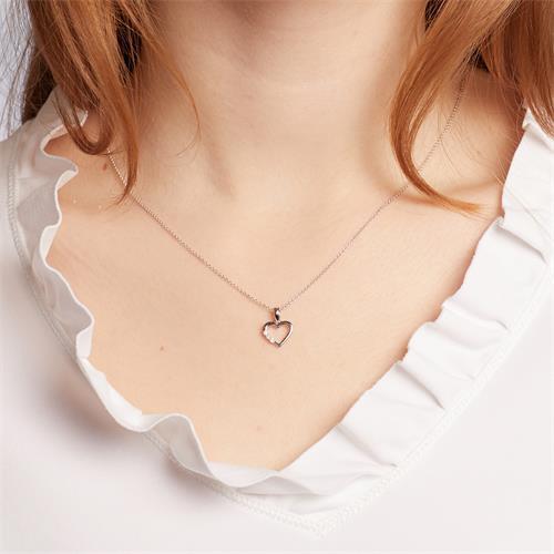 Herzkette aus 14K Weißgold mit Diamanten