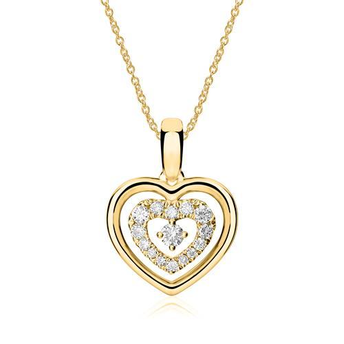 Herzkette aus 750er Gold mit Brillanten