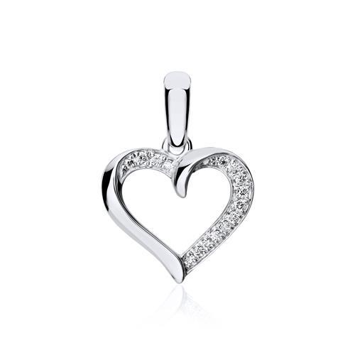 750er Weißgold Anhänger Herz mit Diamanten