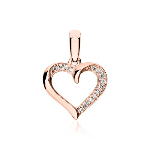 Herzkette aus 18K Roségold mit Brillanten