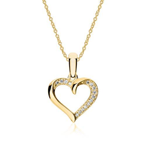 Kette Herz aus 750er Gold mit Diamanten
