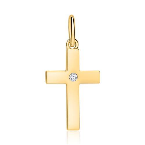 Cross Pendant Made Of 14K Gold With Diamond