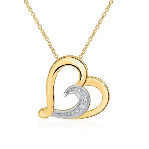 Kette Herz aus 14K Gold mit Diamant