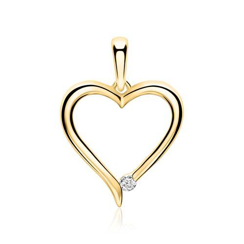 14ct Gold Pendant Heart With Diamond
