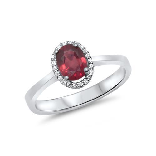 750er Weissgoldring mit Diamant- und Rubinbesatz