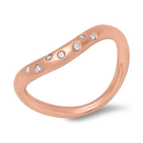 Rotgoldring 585er Legierung mit sieben Diamanten