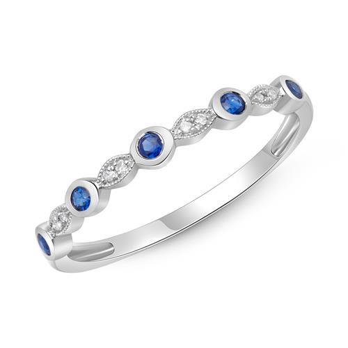 Ring mit Saphiren und Diamanten 0,206 ct gesamt