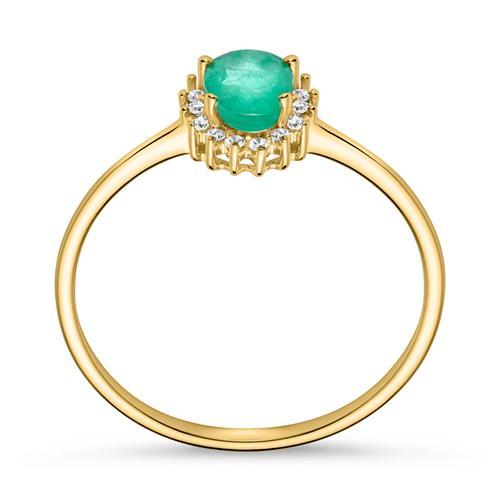 Smaragdring Diamanten 0,353 ct gesamt Gelbgold