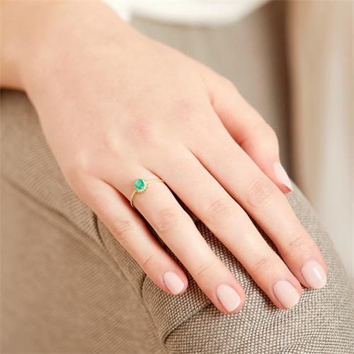 Emerald Ring Diamonds 0,353 Hoops Total Yellow Gold