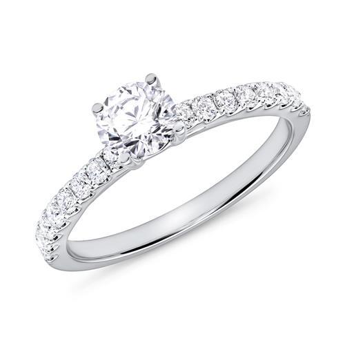 Verlobungsring Diamanten 0,87 ct gesamt Weißgold