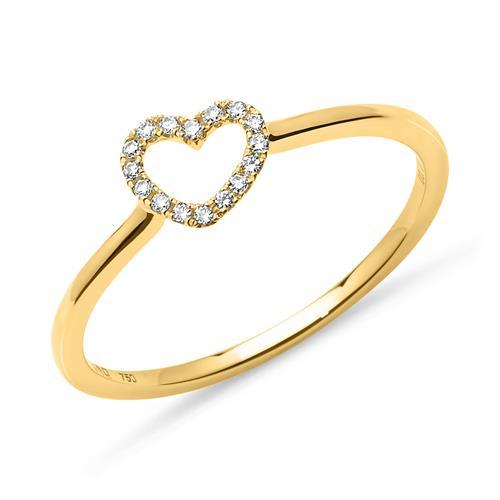 Diamantring Herz 0,07 ct 750er Gelbgold