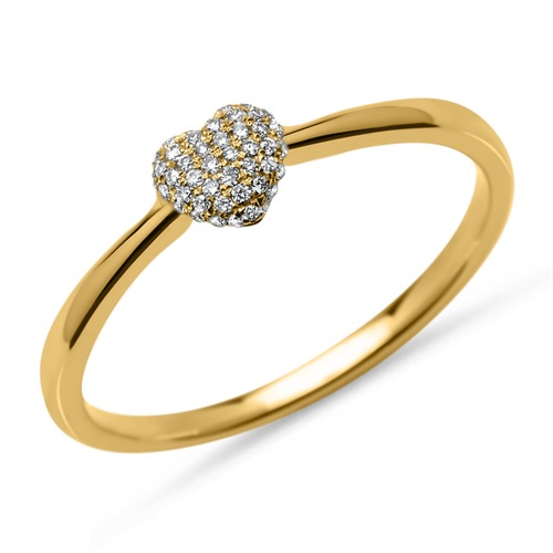 Ring 45 Diamanten 0,10 ct Herz 750er Gelbgold DR0080