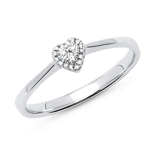 750er Weißgold Ring Herz 19 Diamanten 0,08 ct.