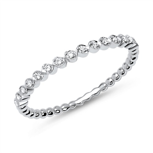 750er Weißgold Eternity Ring mit 15 Diamanten 0,08 ct.