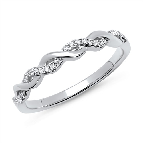 Eleganter 750er Twisted Ring mit 26 Diamanten 0,11 ct.