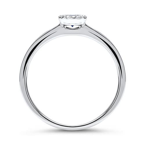 750er Ring 14 Diamanten 0,06 ct. und Saphir