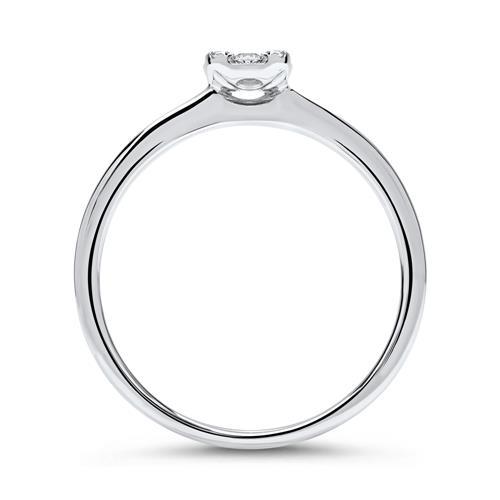 Eleganter 750er Weißgold Ring 9 Diamanten