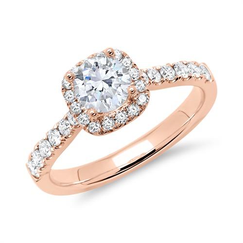750er Roségold Halo Ring mit Brillanten