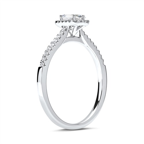 Halo Ring 750er Weißgold mit Diamanten
