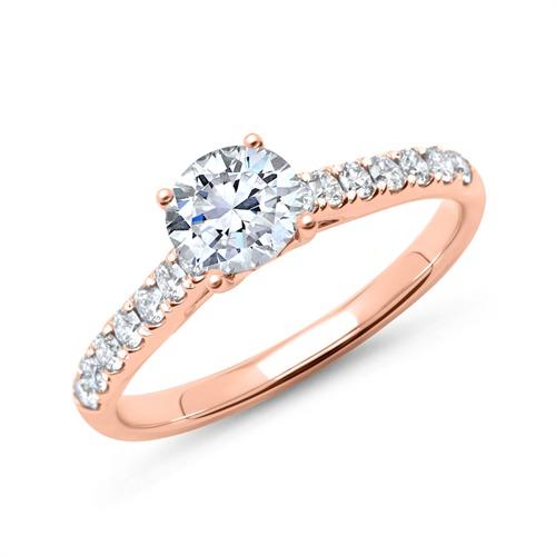 585er Roségold Verlobungsring mit Diamanten DR0160-14KR