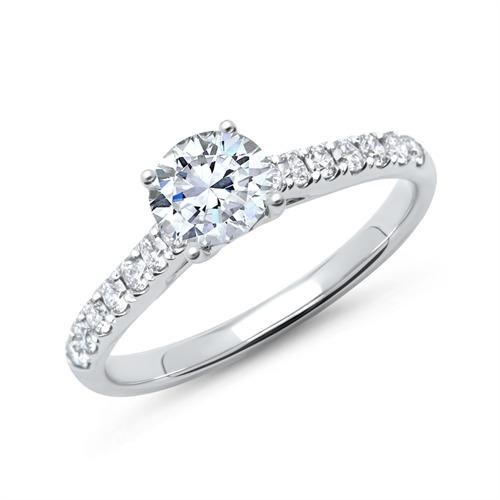 585er Weißgold Verlobungsring mit Diamanten DR0160-14KW
