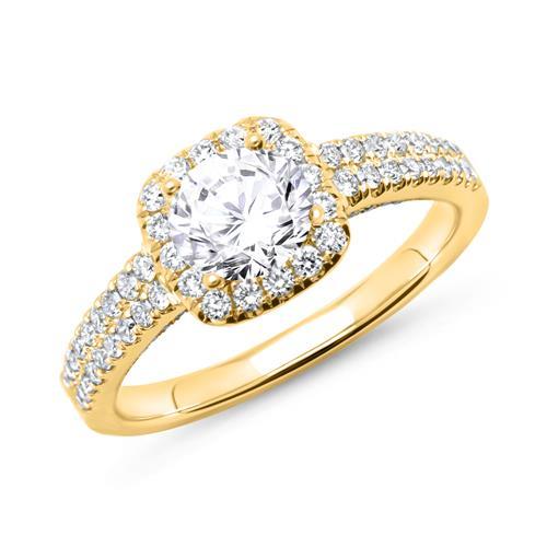 585er Gold Ring mit Diamanten