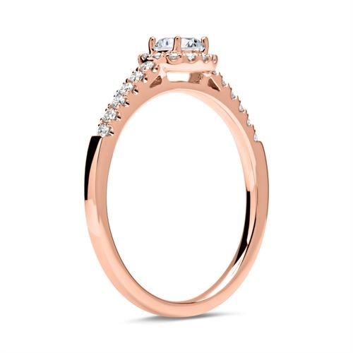 585er Roségold Halo Ring mit Diamanten