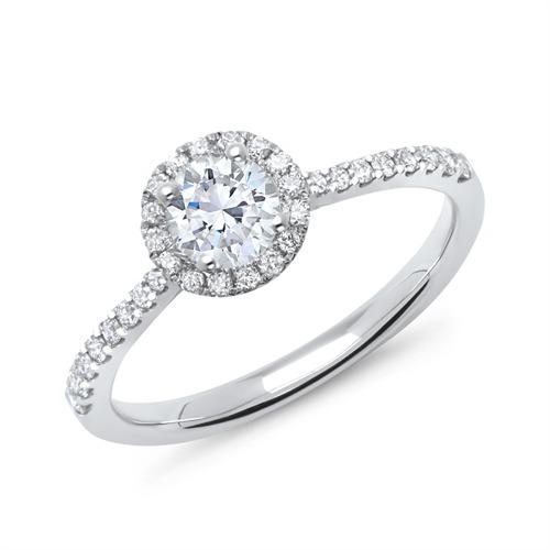 585er Weißgold Halo Ring mit Diamanten