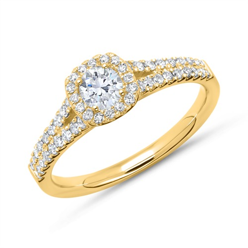 Halo Ring 585er Gold mit Diamanten