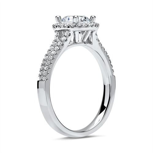 585er Weißgold Halo Ring mit Brillanten