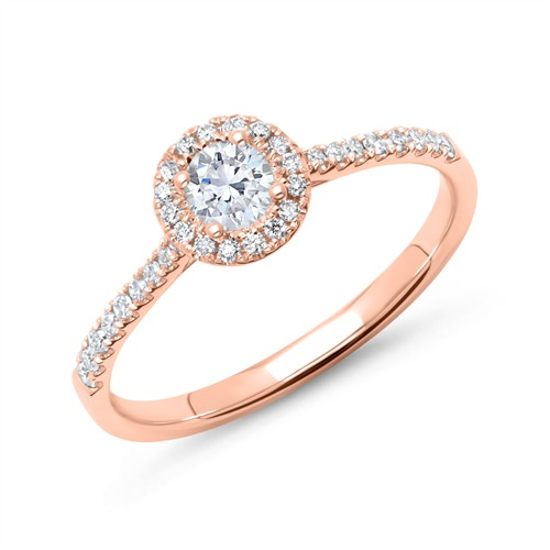 585er Roségold Halo Ring mit Brillanten