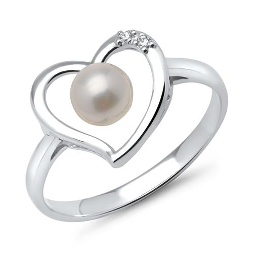 Weißgold-Ring Herz mit Perle und Diamanten 0,017 ct.