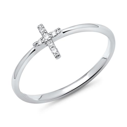 585er Weißgold-Ring Kreuz mit 6 Diamanten 0,03 ct.