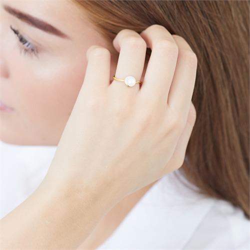 585er Gelbgold-Ring Perle 3 Diamanten 0,014 ct.